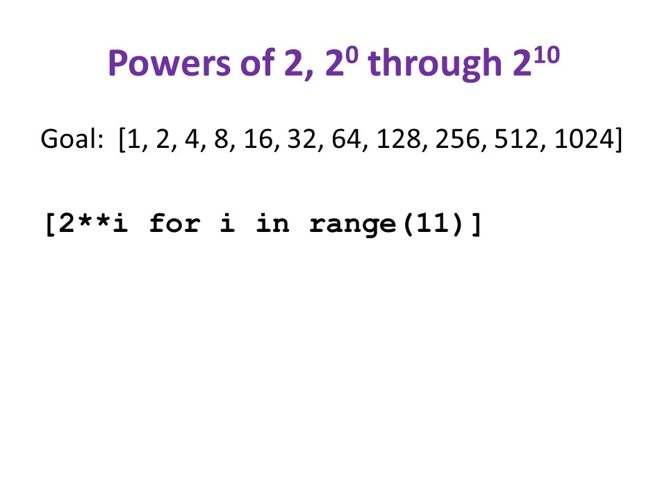Powers of 2, 2 0 through 2 10 Goal: [1, 2, 4, 8, 16, 32, 64, 128, 256, 512, 1024] [2**i for i in range(11)]