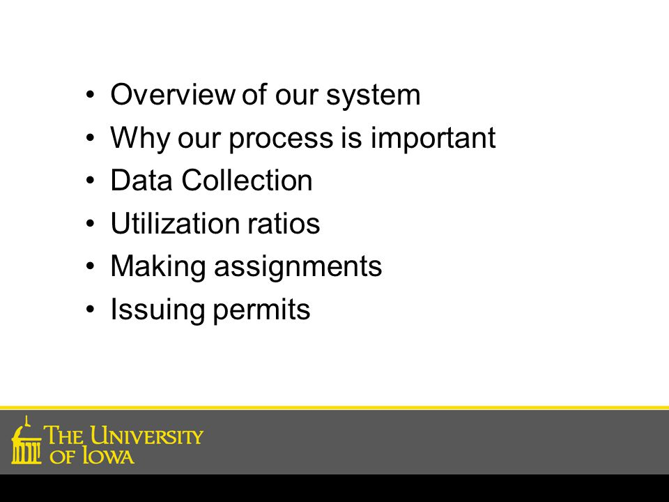 Overview of our system Why our process is important Data Collection Utilization ratios Making assignments Issuing permits