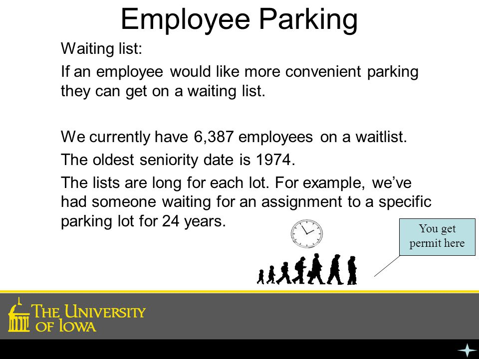 Employee Parking Waiting list: If an employee would like more convenient parking they can get on a waiting list.
