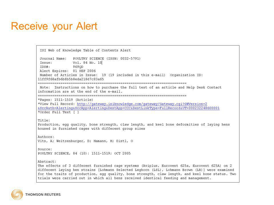 Receive your Alert