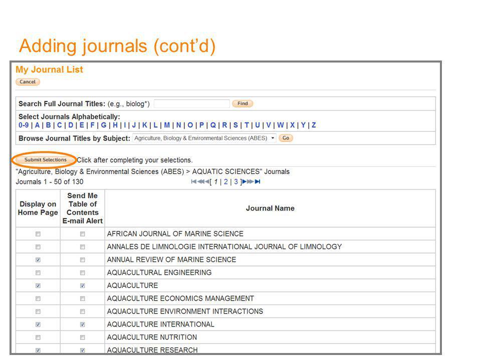 Adding journals (contd)