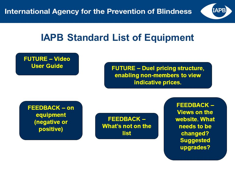 IAPB Standard List of Equipment FUTURE – Video User Guide FUTURE – Duel pricing structure, enabling non-members to view indicative prices. FEEDBACK –