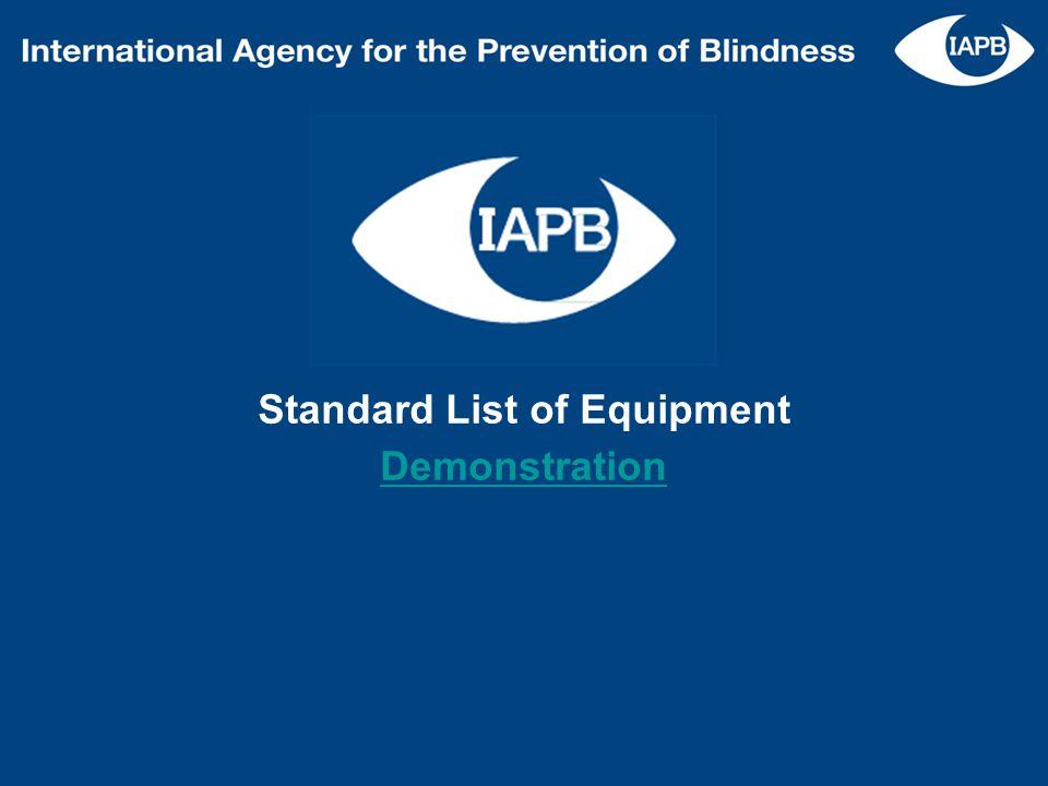 Standard List of Equipment Demonstration