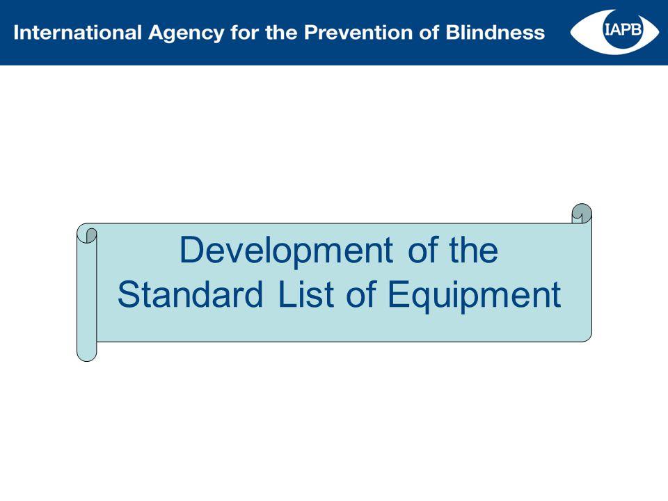 Development of the Standard List of Equipment