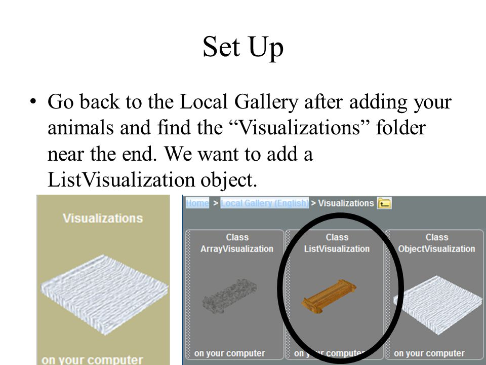 Set Up Go back to the Local Gallery after adding your animals and find the Visualizations folder near the end.