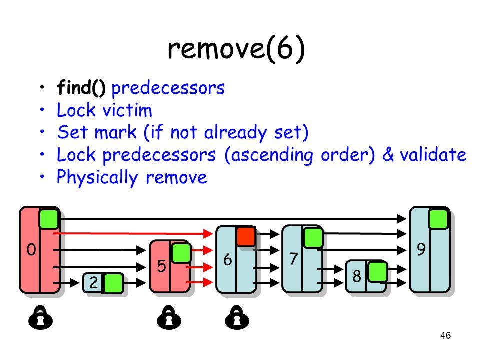 46 remove(6) find() predecessors Lock victim Set mark (if not already set) Lock predecessors (ascending order) & validate Physically remove 8 8 7 7 9 9 2 2 5 5 0 0 6 6 0 0 1 0 0 0