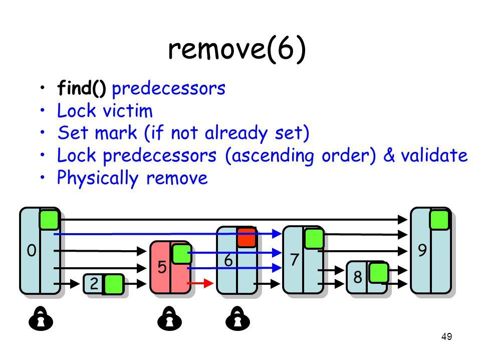 49 remove(6) find() predecessors Lock victim Set mark (if not already set) Lock predecessors (ascending order) & validate Physically remove 8 8 7 7 9