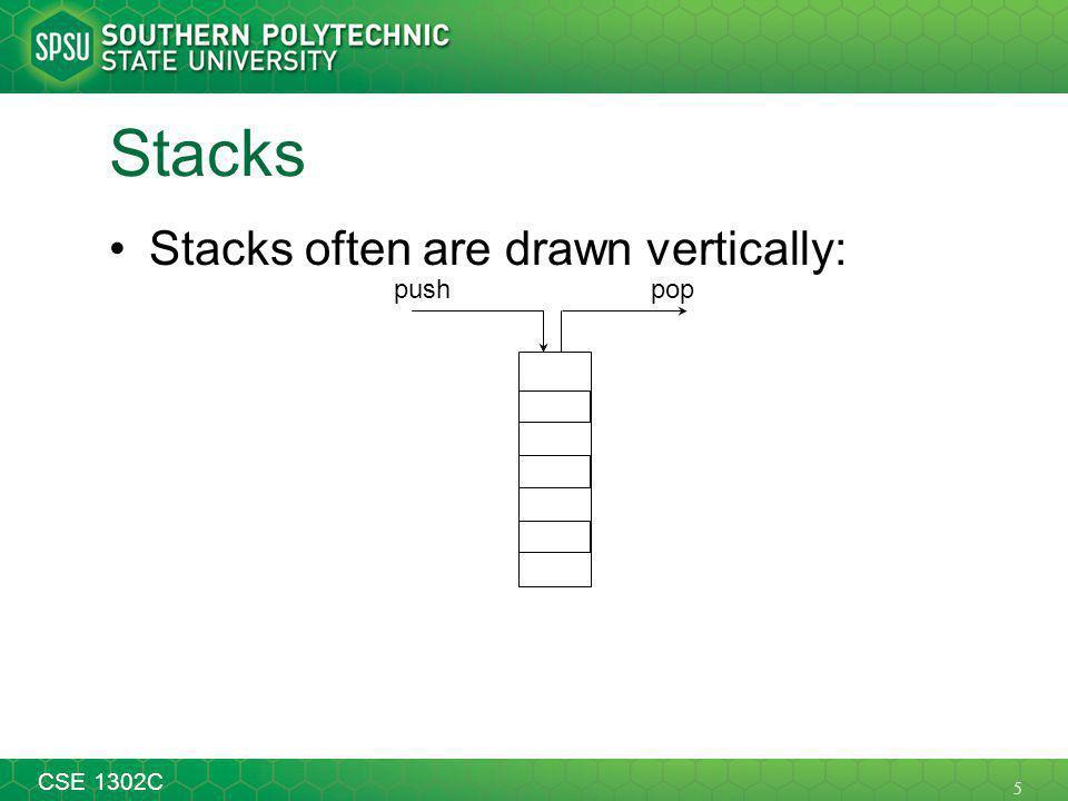 5 CSE 1302C Stacks Stacks often are drawn vertically: poppush