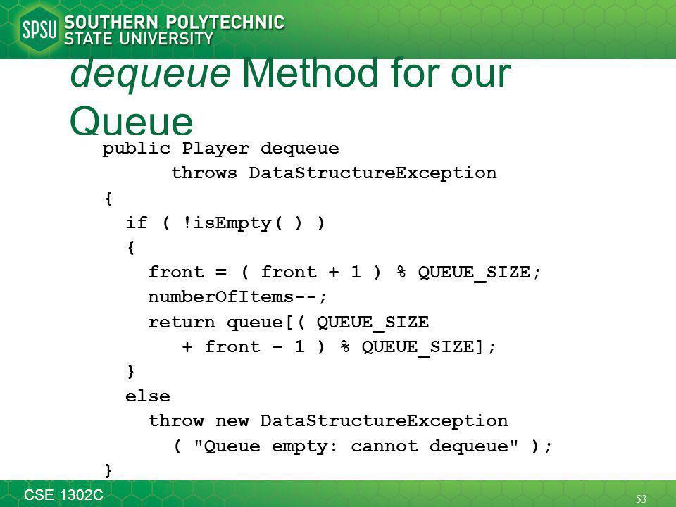 53 CSE 1302C dequeue Method for our Queue public Player dequeue throws DataStructureException { if ( !isEmpty( ) ) { front = ( front + 1 ) % QUEUE_SIZE; numberOfItems--; return queue[( QUEUE_SIZE + front – 1 ) % QUEUE_SIZE]; } else throw new DataStructureException ( Queue empty: cannot dequeue ); }