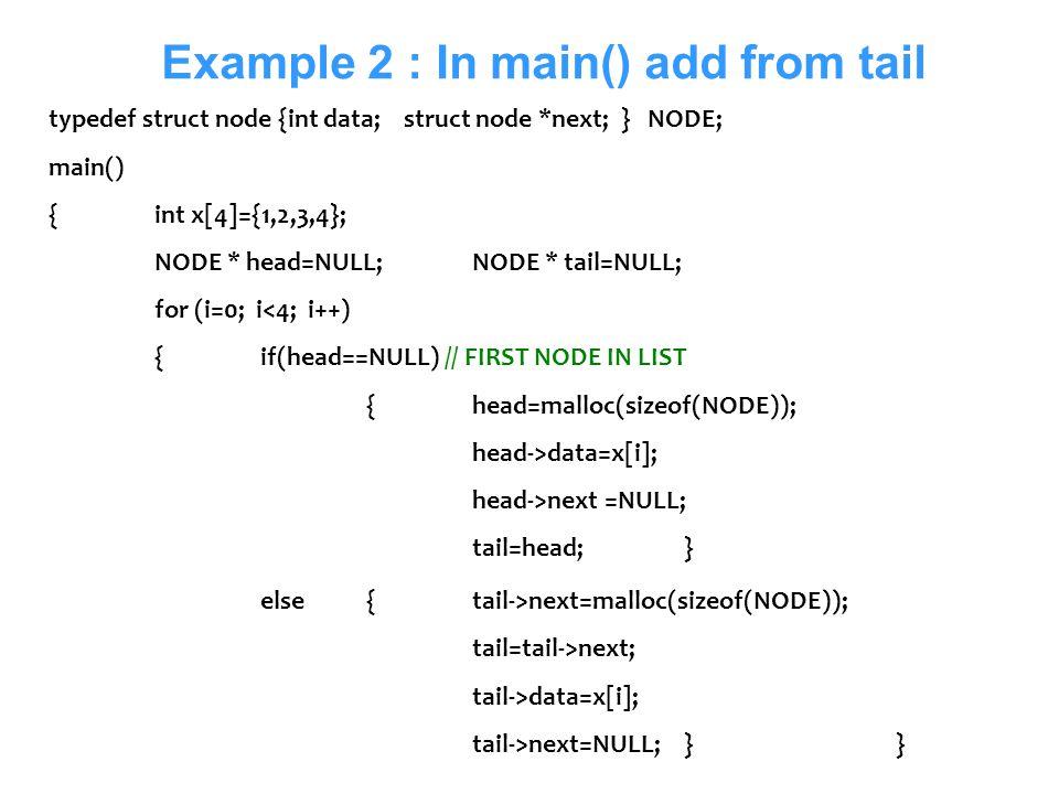Senem Kumova Metin14 Example 2 : In main() add from tail typedef struct node {int data; struct node *next; } NODE; main() {int x[4]={1,2,3,4}; NODE *