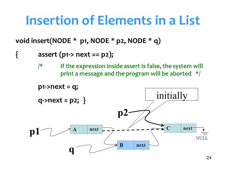 24 Insertion of Elements in a List void insert(NODE * p1, NODE * p2, NODE * q) {assert (p1-> next == p2); /* if the expression inside assert is false,