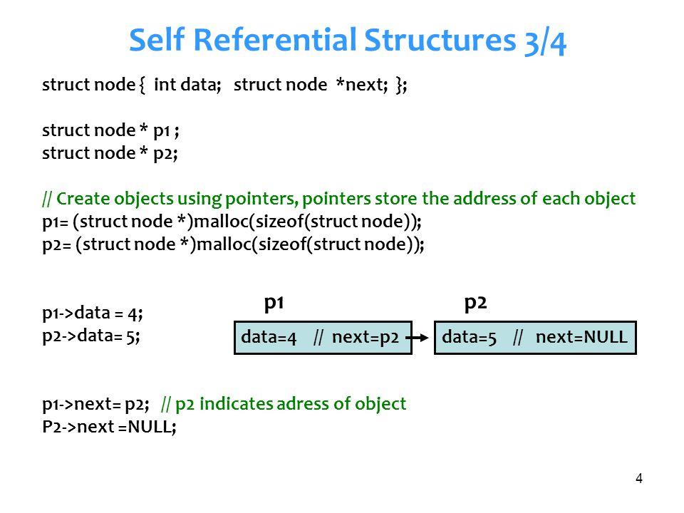 5 Self Referential Structures 4/4 struct node * p3= malloc(sizeof(struct node)); p3->data=1; p3->next=NULL; p2->next= p3; p1->next== p2 p1->next->next==p3 p2->data == p1->next->data p3->data ==p1->next->next->data data=5 // next=p3data=4 // next=p2 p1p2 p3 data=1 // next=NULL