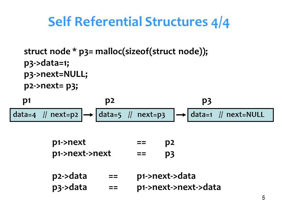 5 Self Referential Structures 4/4 struct node * p3= malloc(sizeof(struct node)); p3->data=1; p3->next=NULL; p2->next= p3; p1->next== p2 p1->next->next