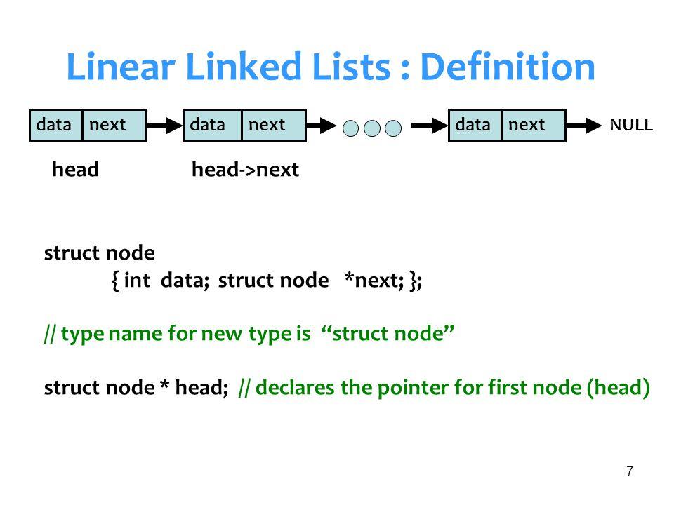 8 Linear Linked Lists : 2 nodes in main() struct node { int data; struct node *next; }; main() { struct node * head; /* Create List */ head = (struct node *)malloc(sizeof(struct node)); head->data=1; head->next=NULL; /* Add 1st element */ head->next= (struct node *) malloc(sizeof(struct node)); head->next->data =2; head->next->next=NULL; } data=1 next=NULL head data=2 next=NULL data=1 next=& head head->next