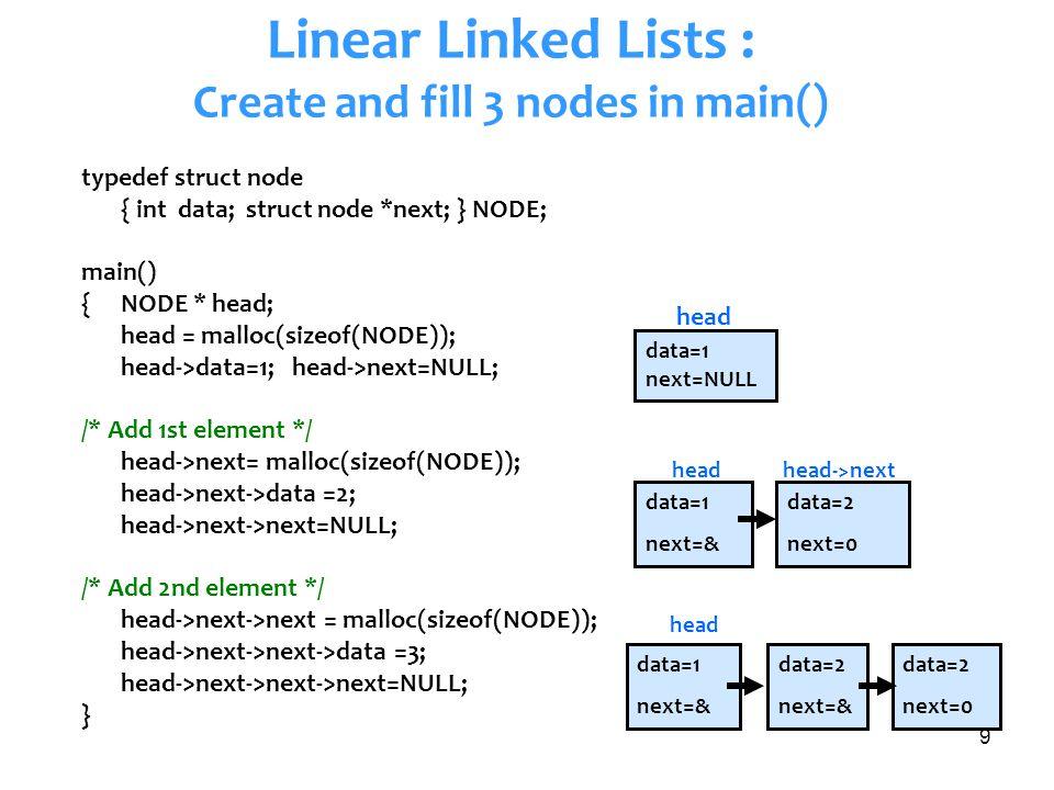 9 Linear Linked Lists : Create and fill 3 nodes in main() typedef struct node { int data; struct node *next; } NODE; main() {NODE * head; head = mallo