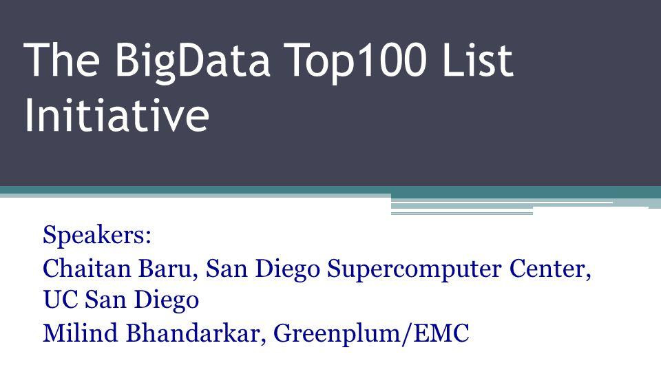 The BigData Top100 List Initiative Speakers: Chaitan Baru, San Diego Supercomputer Center, UC San Diego Milind Bhandarkar, Greenplum/EMC