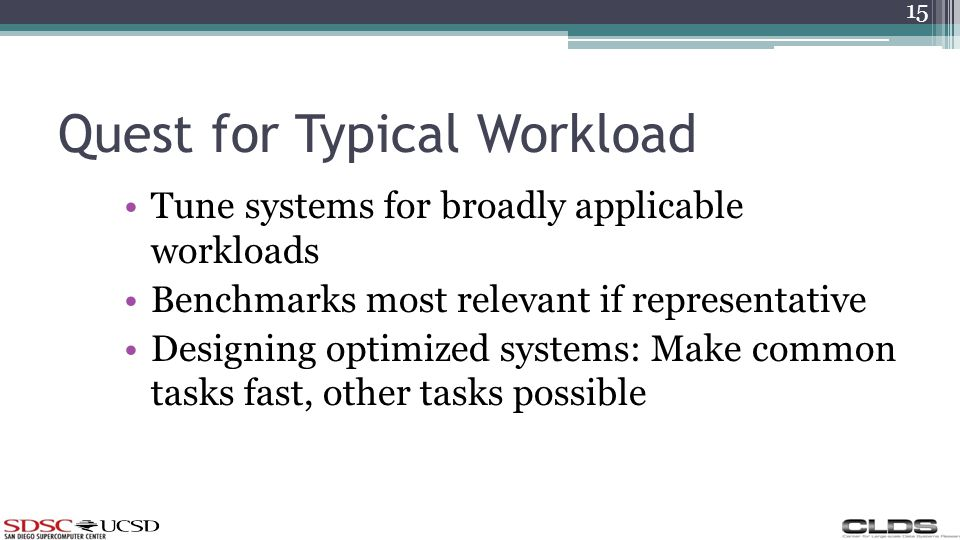 Quest for Typical Workload Tune systems for broadly applicable workloads Benchmarks most relevant if representative Designing optimized systems: Make