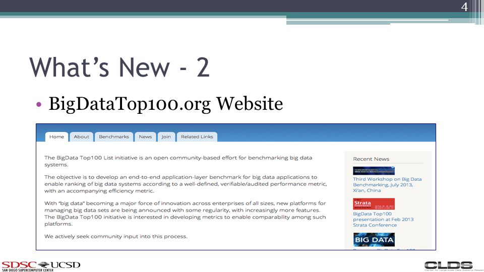 Whats New - 2 BigDataTop100.org Website 4