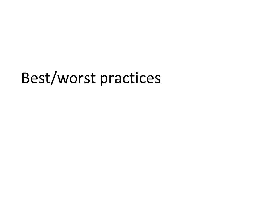 Best/worst practices