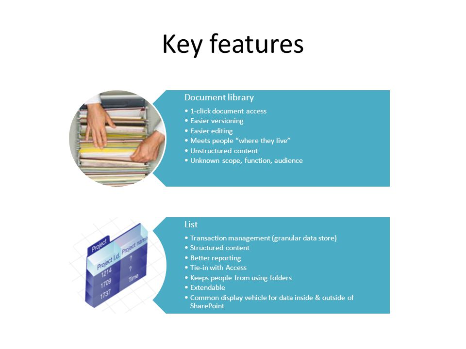 Key features Document library 1-click document access Easier versioning Easier editing Meets people where they live Unstructured content Unknown scope, function, audience List Transaction management (granular data store) Structured content Better reporting Tie-in with Access Keeps people from using folders Extendable Common display vehicle for data inside & outside of SharePoint
