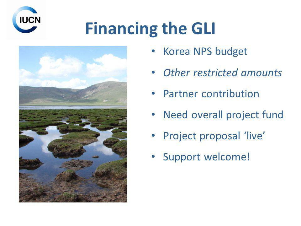 Financing the GLI Korea NPS budget Other restricted amounts Partner contribution Need overall project fund Project proposal live Support welcome!