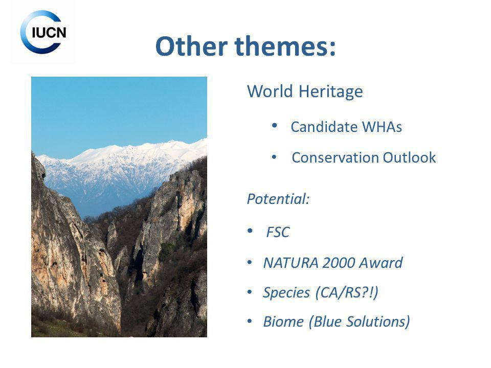 Other themes: World Heritage Candidate WHAs Conservation Outlook Potential: FSC NATURA 2000 Award Species (CA/RS !) Biome (Blue Solutions)