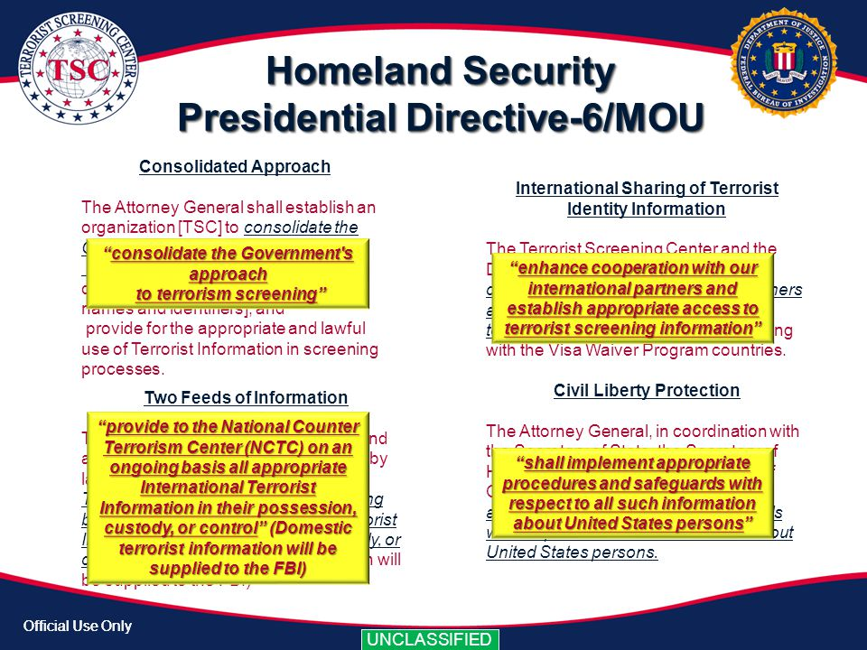 Official Use Only UNCLASSIFIED Official Use Only UNCLASSIFIED Homeland Security Presidential Directive-6/MOU International Sharing of Terrorist Identi