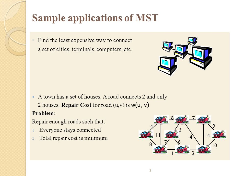 3 Sample applications of MST Find the least expensive way to connect a set of cities, terminals, computers, etc. A town has a set of houses. A road co