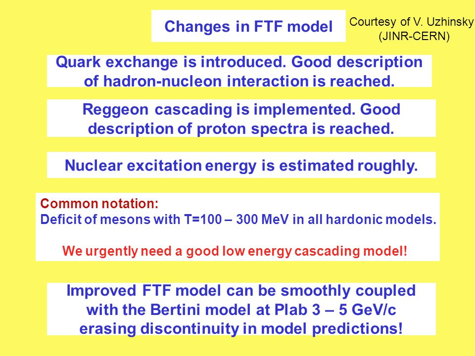 Changes in FTF model Quark exchange is introduced. Good description of hadron-nucleon interaction is reached. Reggeon cascading is implemented. Good d