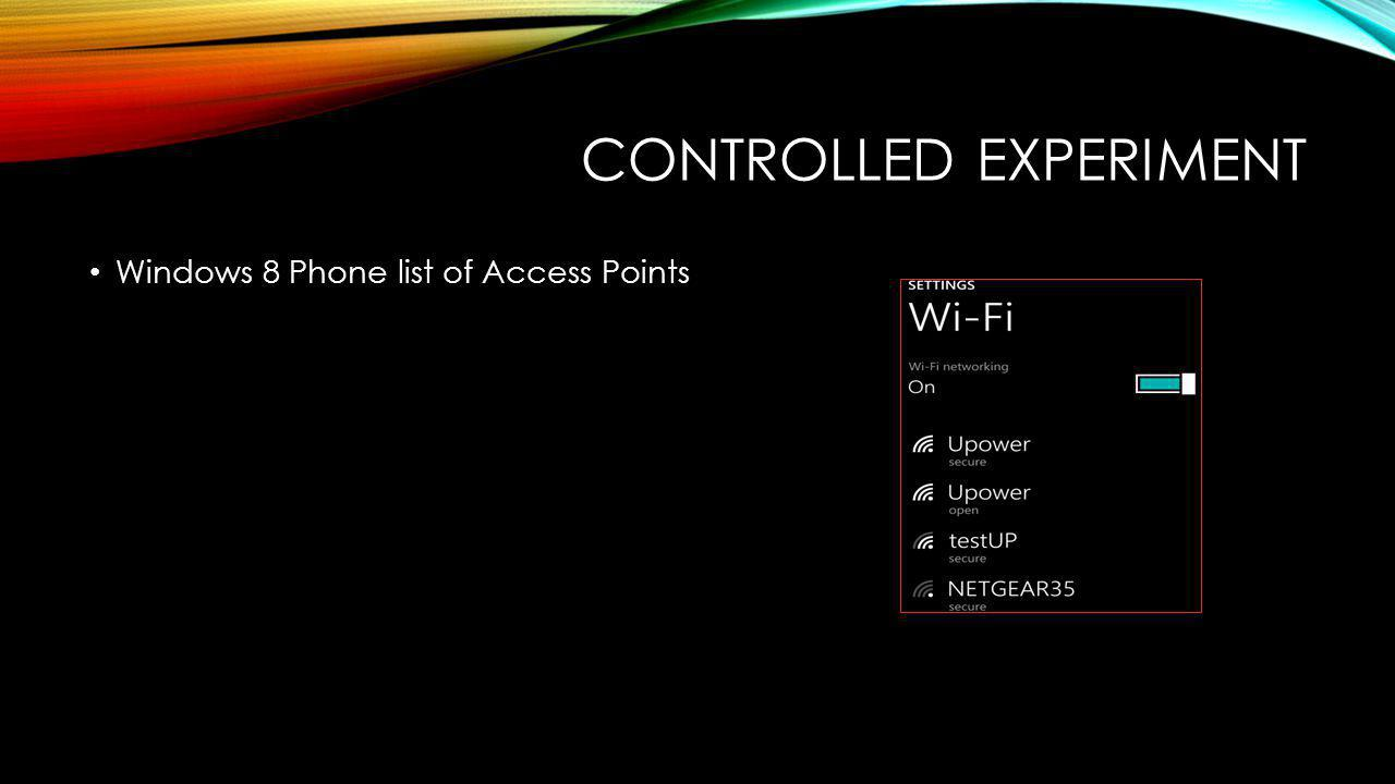 CONTROLLED EXPERIMENT Windows 8 Phone list of Access Points