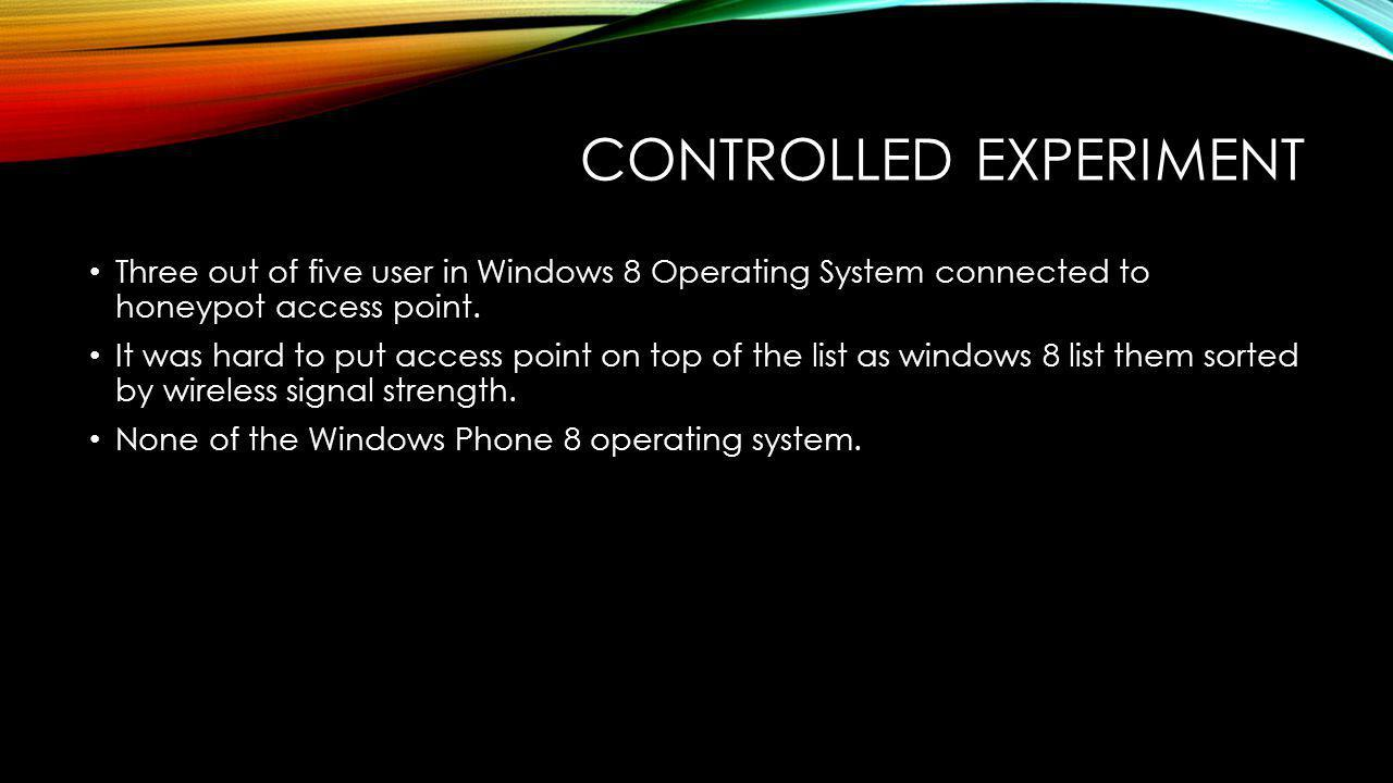 CONTROLLED EXPERIMENT Three out of five user in Windows 8 Operating System connected to honeypot access point.
