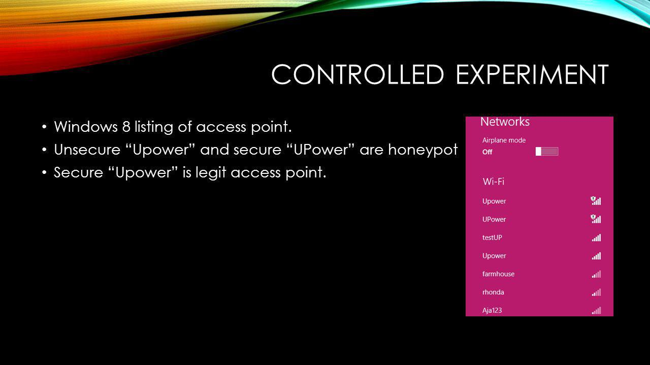 CONTROLLED EXPERIMENT Windows 8 listing of access point.