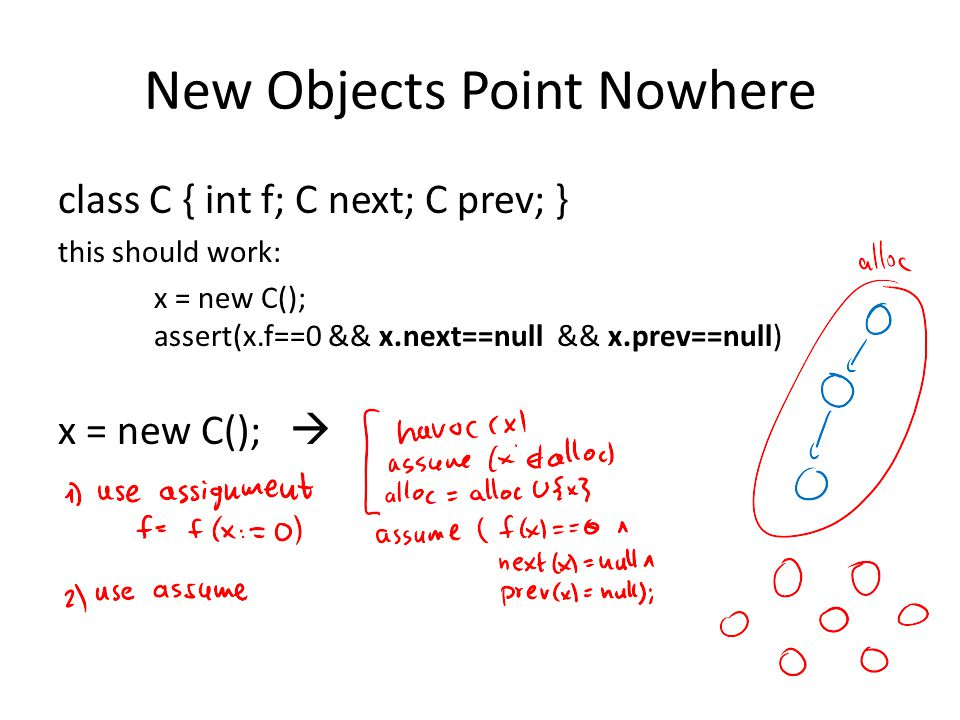 New Objects Point Nowhere class C { int f; C next; C prev; } this should work: x = new C(); assert(x.f==0 && x.next==null && x.prev==null) x = new C();