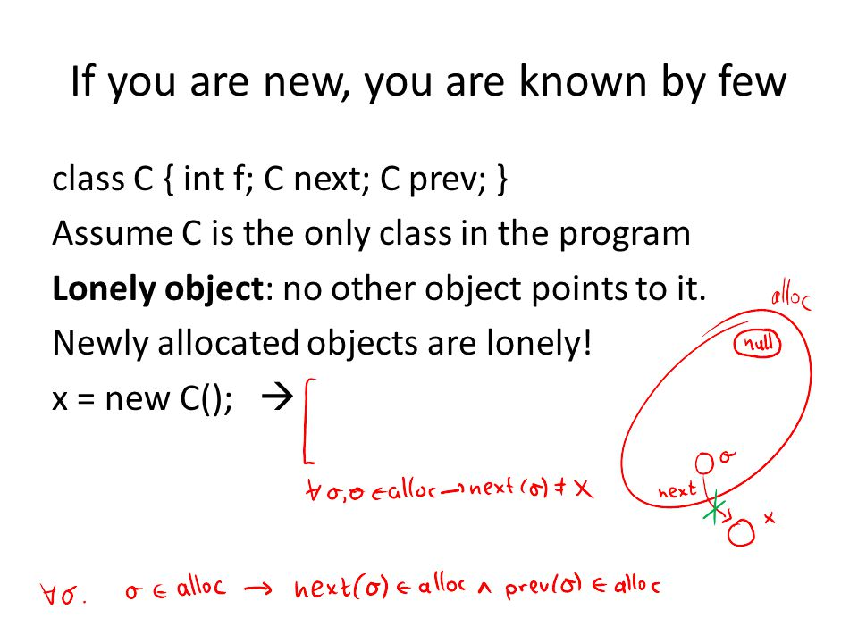 If you are new, you are known by few class C { int f; C next; C prev; } Assume C is the only class in the program Lonely object: no other object points to it.