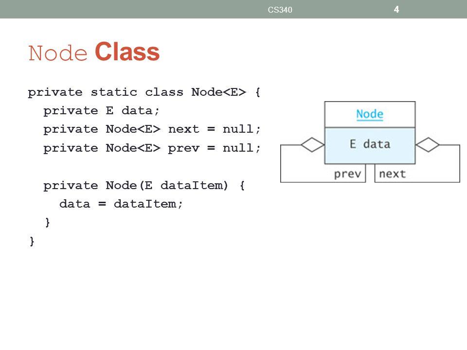 Node Class private static class Node { private E data; private Node next = null; private Node prev = null; private Node(E dataItem) { data = dataItem; } CS340 4