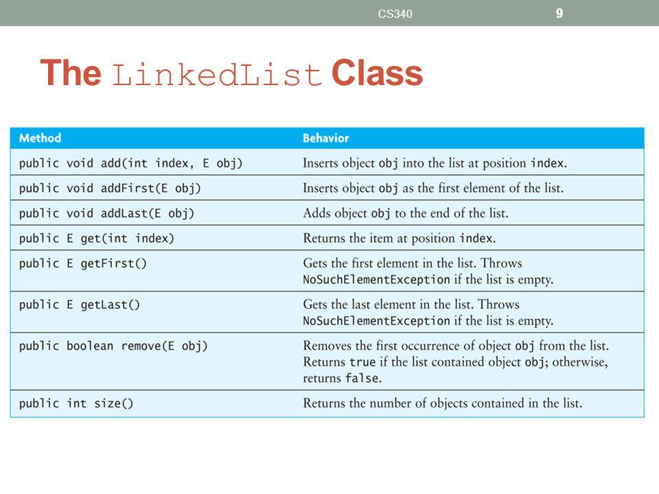 The LinkedList Class CS340 9