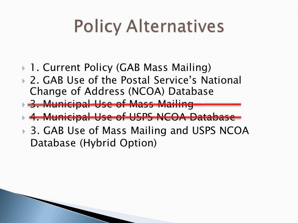 1. Current Policy (GAB Mass Mailing) 2. GAB Use of the Postal Services National Change of Address (NCOA) Database 3. Municipal Use of Mass Mailing 4.
