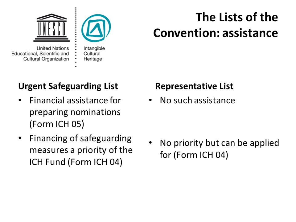 The Lists of the Convention: assistance Urgent Safeguarding List Financial assistance for preparing nominations (Form ICH 05) Financing of safeguarding measures a priority of the ICH Fund (Form ICH 04) Representative List No such assistance No priority but can be applied for (Form ICH 04)