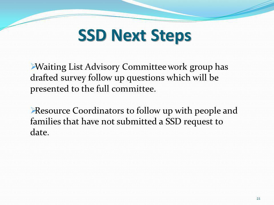 SSD Next Steps Waiting List Advisory Committee work group has drafted survey follow up questions which will be presented to the full committee.