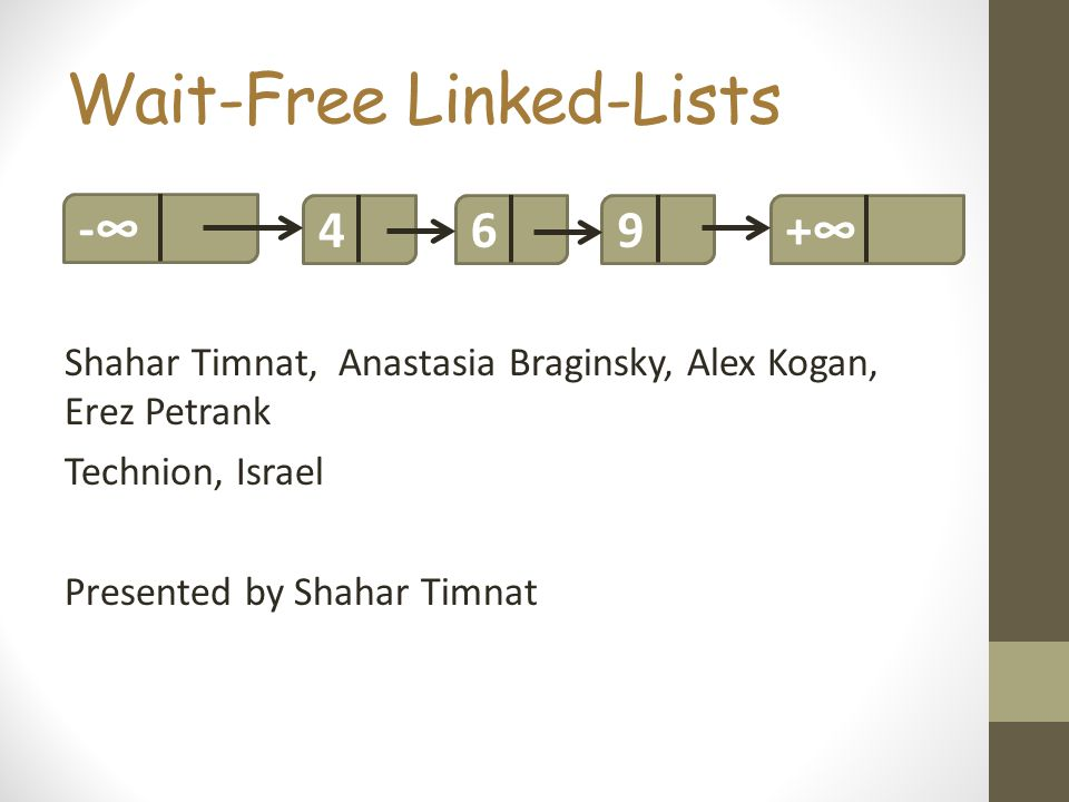 Wait-Free Linked-Lists Shahar Timnat, Anastasia Braginsky, Alex Kogan, Erez Petrank Technion, Israel Presented by Shahar Timnat 469-+