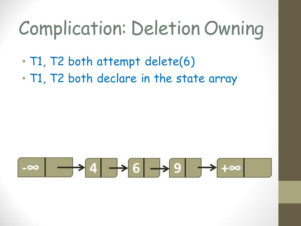 Complication: Deletion Owning T1, T2 both attempt delete(6) T1, T2 both declare in the state array 469-+