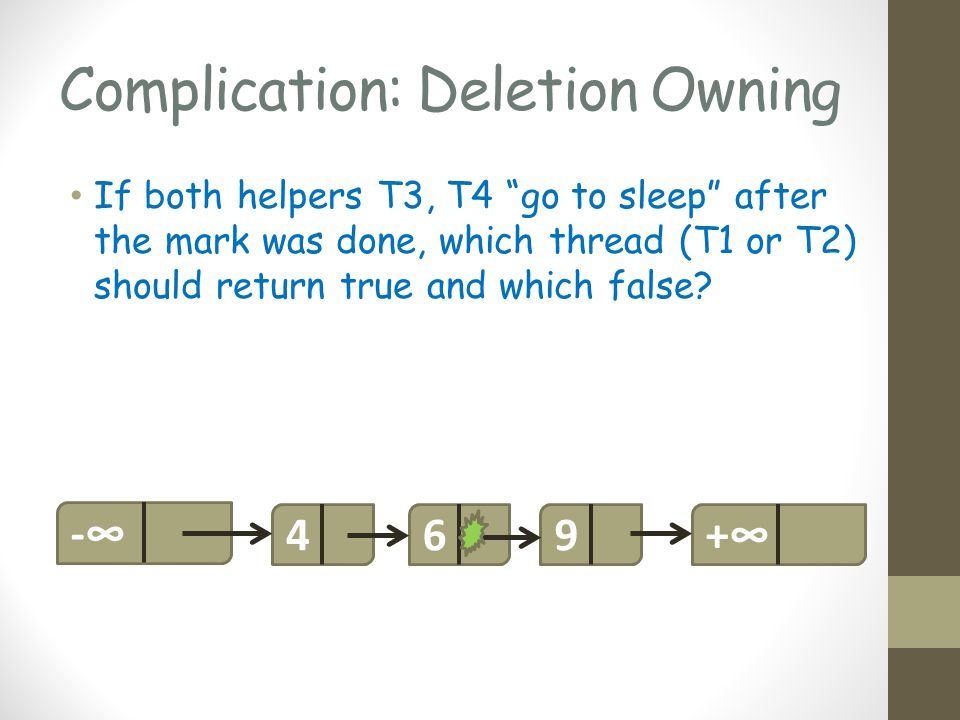 Complication: Deletion Owning If both helpers T3, T4 go to sleep after the mark was done, which thread (T1 or T2) should return true and which false.