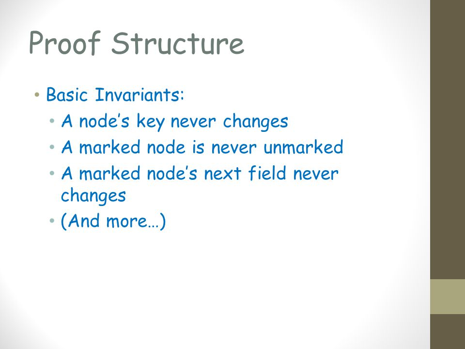 Proof Structure Basic Invariants: A nodes key never changes A marked node is never unmarked A marked nodes next field never changes (And more…)