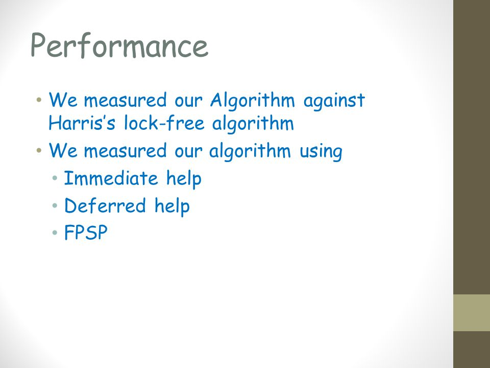 Performance We measured our Algorithm against Harriss lock-free algorithm We measured our algorithm using Immediate help Deferred help FPSP
