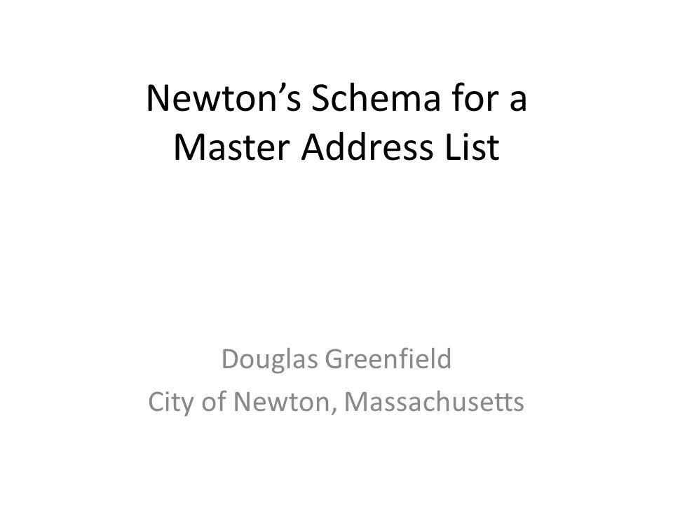 Newtons Schema for a Master Address List Douglas Greenfield City of Newton, Massachusetts