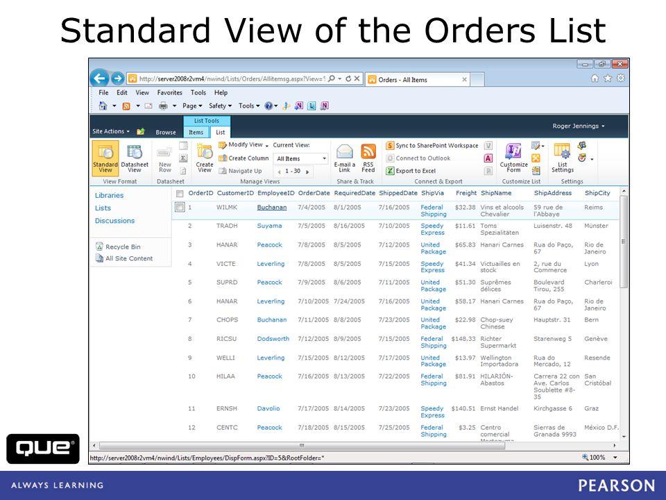 quepublishing.com Standard View of the Orders List
