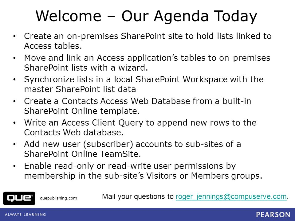 quepublishing.com For More Info about Web Databases See Microsoft Access 2010 in Depth, Chapter 23 Check out March 2010 postings to my Access in Depth blog at http://accessindepth.blogspot.com:http://accessindepth.blogspot.com o SharePoint 2010 Lists OData Content Created by Access Services is Incompatible with ADO.NET Data Services o Upsizing the Northwind Web Database to an Updated SharePoint 2010 Server Hosted by AccessHosting.com o Access Web Databases on AccessHosting.com: What is OData and Why Should I Care.