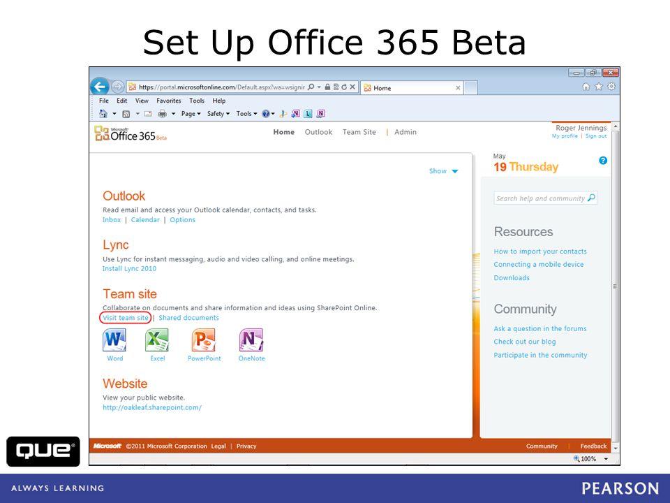 quepublishing.com Set Up Office 365 Beta