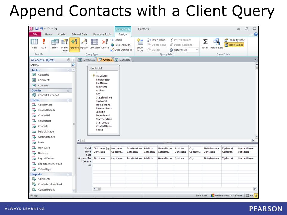 quepublishing.com Append Contacts with a Client Query