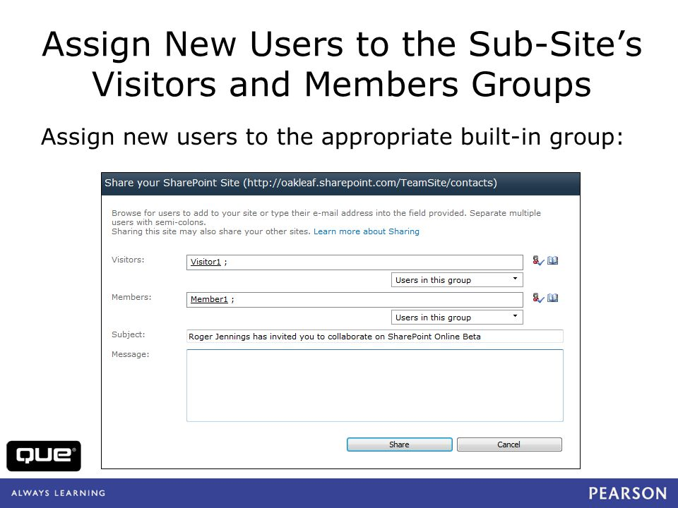 quepublishing.com Assign New Users to the Sub-Sites Visitors and Members Groups Assign new users to the appropriate built-in group: